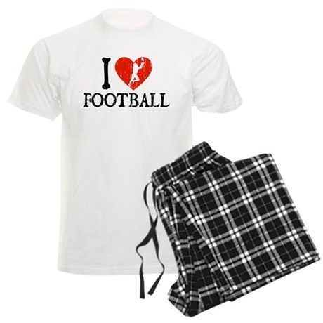 I Heart Football Men's Light Pajamas