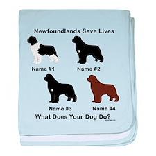 4 Newfoundlands baby blanket