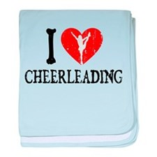 I Heart Cheerleading baby blanket