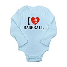I Heart Baseball Long Sleeve Infant Bodysuit