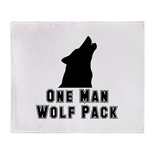 One Man Wolf Pack Throw Blanket