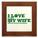 Funny my wife football Framed Tile