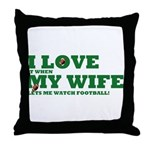Funny my wife football Throw Pillow