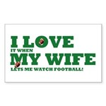 Funny my wife football Sticker (Rectangle)