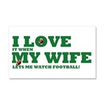 Funny my wife football Car Magnet 20 x 12