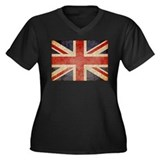 UK Faded Women's Plus Size V-Neck Dark T-Shirt