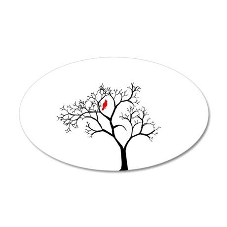 Cardinal in Snowy Tree 38.5 x 24.5 Oval Wall Peel