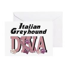Italian Greyhound DIVA Greeting Card