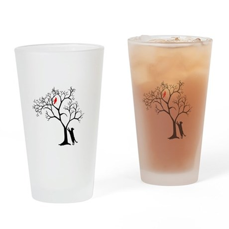 Red Bird in Tree with Cat Drinking Glass