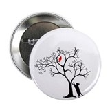 "Red Bird in Tree with Cat 2.25"" Button"