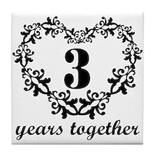 3rd Anniversary Heart Tile Coaster