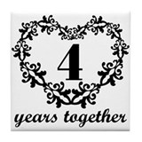 4th Anniversary Heart Tile Coaster