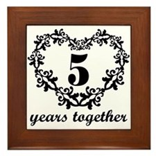 5th Anniversary Heart Framed Tile