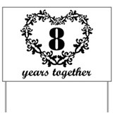 8th Anniversary Heart Yard Sign