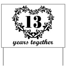 13th Anniversary Heart Yard Sign