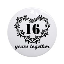 16th Anniversary Heart Ornament (Round)