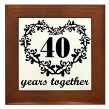 40th Anniversary Heart Framed Tile