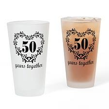 50th Anniversary Heart Drinking Glass