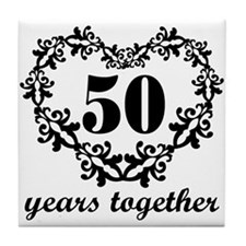 50th Anniversary Heart Tile Coaster