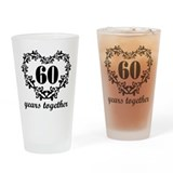 60th Anniversary Heart Drinking Glass