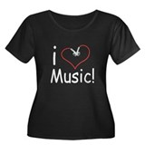 I Love Music Women's Plus Size Scoop Neck Dark T-S