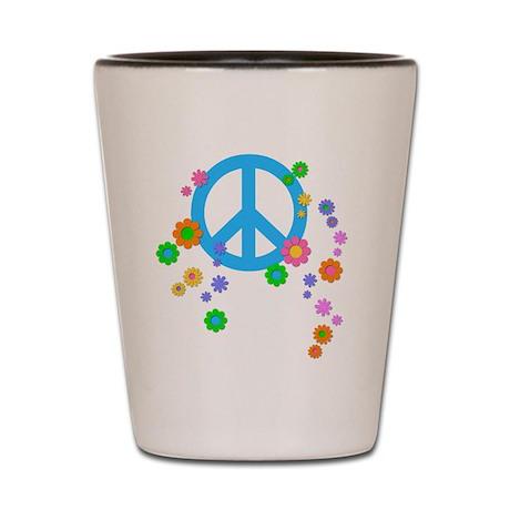 Peace Love Flowers Shot Glass