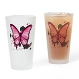 Pink Butterfly Drinking Glass