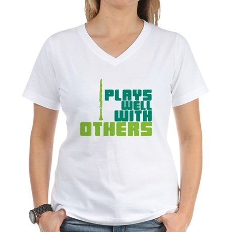Clarinet (Plays Well With Others) Women's V-Neck T