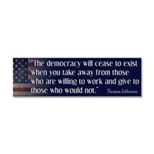 Jefferson Quote Democracy Car Magnet 10 x 3