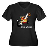 Big Wheel Women's Plus Size V-Neck Dark T-Shirt