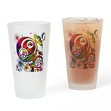 Lucky Peace Sign Collage Drinking Glass