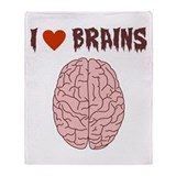 Zombie I Love Brains Throw Blanket