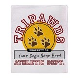 Cute Tripawds Throw Blanket