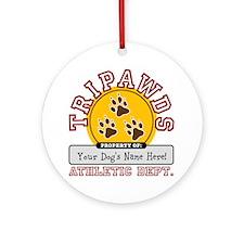 Cute Three legged dog Ornament (Round)