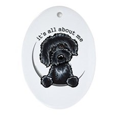 Black Labradoodle IAAM Ornament (Oval)