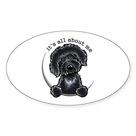 Black Labradoodle IAAM Sticker (Oval)