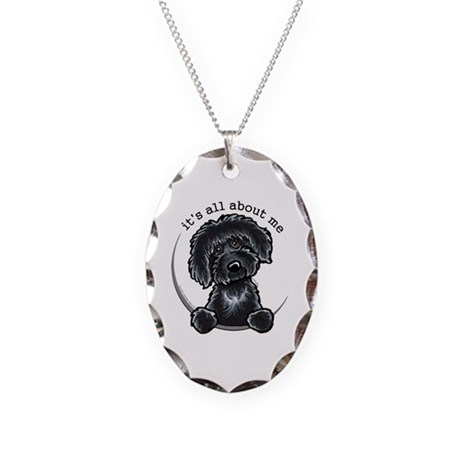 Black Labradoodle IAAM Necklace Oval Charm