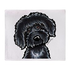 Black Labradoodle Funny Throw Blanket