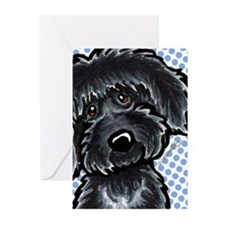 Black Labradoodle Funny Greeting Cards (Pk of 20)