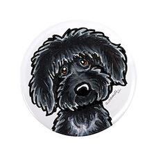 "Black Labradoodle Funny 3.5"" Button"