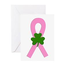 Pink Shamrock Ribbon Greeting Card