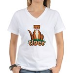 Cartoon Tiger Women's V-Neck T-Shirt