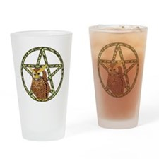 vines Pentagram Owl Drinking Glass