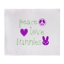 Peace, Love and Bunnies Throw Blanket