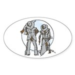 Cowboy moon Sticker (Oval 10 pk)