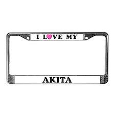 I Love My Akita License Plate Frame