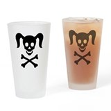 Curly Girlie Skull Drinking Glass