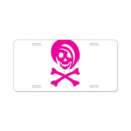 Pink Li'l Spice Girlie Skull Aluminum License Plat