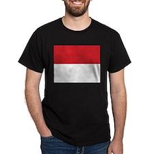 Monaco Flag Black T-Shirt