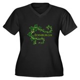 Edinburgh Black Women's Plus Size V-Neck Dark T-Sh